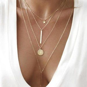 Dainty Multilayered Coin Bar Star Necklace